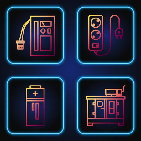 Set line Diesel power generator, Battery, Battery and Electric extension cord. Gradient color icons. Vector Vettoriali