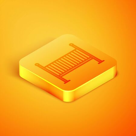 Isometric line Baby crib cradle bed icon isolated on orange background. Orange square button. Vector Illustration Vektoros illusztráció