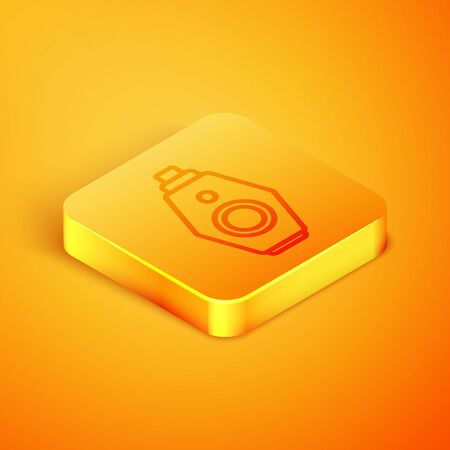 Isometric line Car key with remote icon isolated on orange background. Car key and alarm system. Orange square button. Vector Illustration