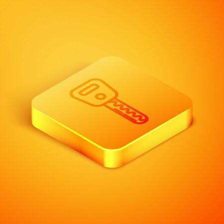 Isometric line Car key icon isolated on orange background. Orange square button. Vector Illustration