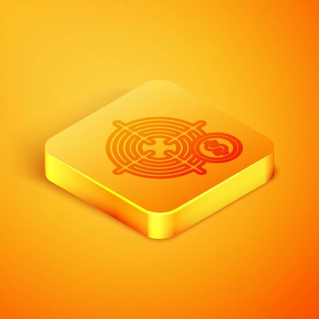 Isometric line Target with dollar symbol icon isolated on orange background. Investment target icon. Successful business concept. Cash or Money. Orange square button. Vector Illustration Иллюстрация