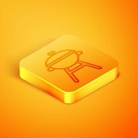 Isometric line Barbecue grill icon isolated on orange background. BBQ grill party. Orange square button. Vector Illustration Ilustração