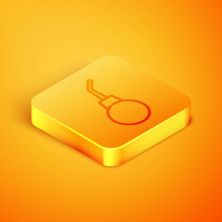 Isometric line Enema pear icon isolated on orange background. Medical rubber pump. Orange square button. Vector Illustration Stock Illustratie