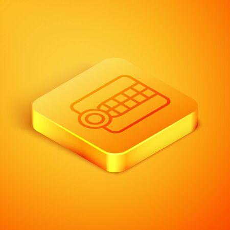 Isometric line Dentures model icon isolated on orange background. Dental concept. Orange square button. Vector Illustration
