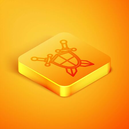 Isometric line Medieval shield with crossed swords icon isolated on orange background. Orange square button. Vector Illustration Illustration