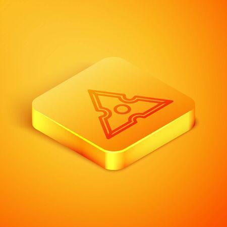 Isometric line Japanese ninja shuriken icon isolated on orange background. Orange square button. Vector Illustration