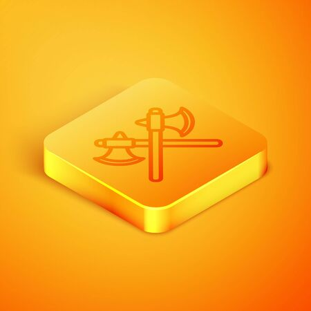 Isometric line Crossed medieval axes icon isolated on orange background. Battle axe, executioner axe. Orange square button. Vector Illustration Illustration