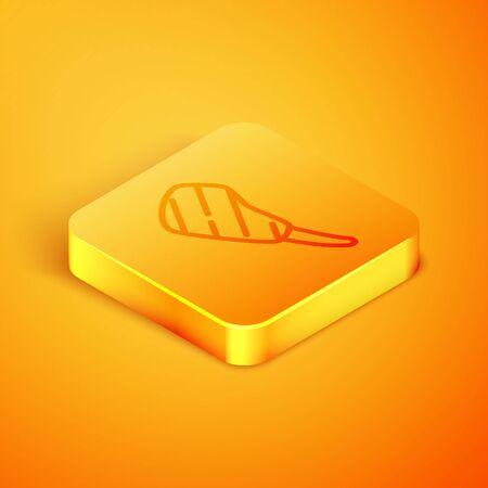 Isometric line Rib eye steak icon isolated on orange background. Steak tomahawk. Piece of meat. Orange square button. Vector Illustration