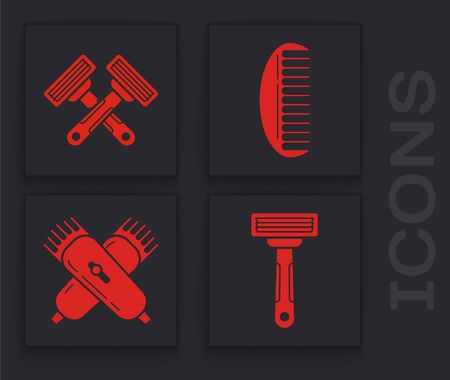 Set Shaving razor, Crossed shaving razor, Hairbrush and Crossed electrical hair clipper or shaver icon. Vector Vettoriali
