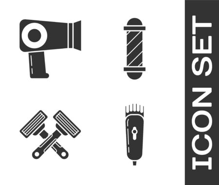 Set Electrical hair clipper or shaver, Hair dryer, Crossed shaving razor and Classic Barber shop pole icon. Vector