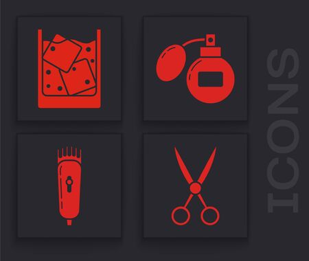 Set Scissors hairdresser, Glass of whiskey and ice cubes, Aftershave and Electrical hair clipper or shaver icon. Vector Ilustração