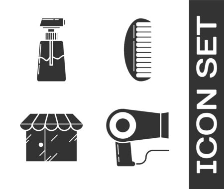 Set Hair dryer, Cream or lotion cosmetic tube, Barbershop building and Hairbrush icon. Vector