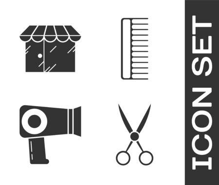 Set Scissors hairdresser, Barbershop building, Hair dryer and Hairbrush icon. Vector