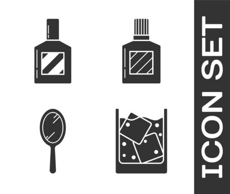 Set Glass of whiskey and ice cubes, Aftershave, Hand mirror and Aftershave icon. Vector