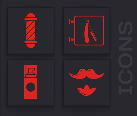 Set Mustache and beard, Classic Barber shop pole, Barbershop with razor and Shaving gel foam icon. Vector