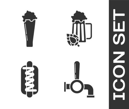 Set Beer tap, Glass of beer, Hotdog sandwich with mustard and Glass of beer and hop icon. Vector Vettoriali