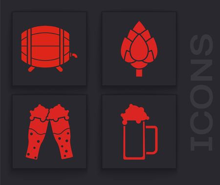 Set Glass of beer, Wooden barrel on rack with stopcock, Hop and Glass of beer icon. Vector