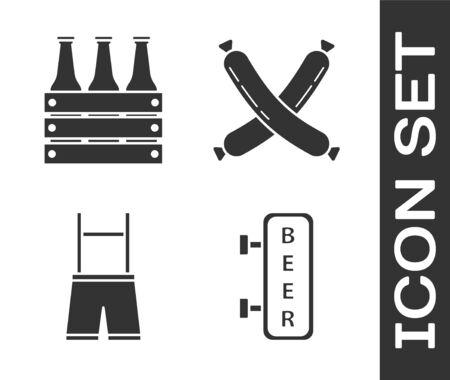 Set Street signboard with inscription Beer, Pack of beer bottles, Lederhosen and Crossed sausage icon. Vector