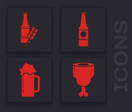 Set Chicken leg, Beer bottle, Beer bottle and Glass of beer icon. Vector Illusztráció