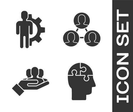 Set Human head puzzles strategy, Human with gear inside, Project team base and Project team base icon. Vector