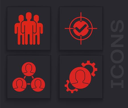 Set Human with gear inside, Users group, Target and check mark and Project team base icon. Vector