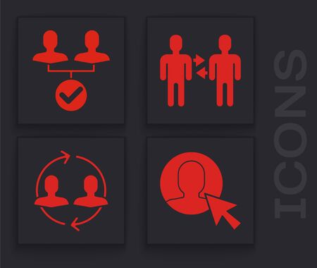 Set User of man in business suit, Project team base, Project team base and Human resources icon. Vector