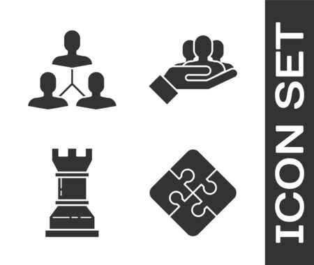 Set Piece of puzzle, Project team base, Business strategy and Project team base icon. Vector 일러스트