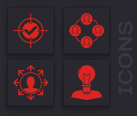 Set Human head with lamp bulb, Target and check mark, Project team base and Project team base icon. Vector 일러스트