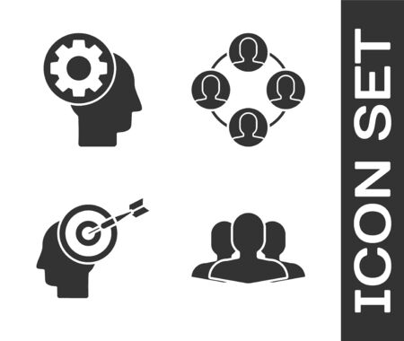Set Users group, Human head with gear inside, Head hunting concept and Project team base icon. Vector