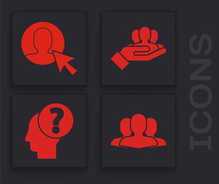 Set Users group, User of man in business suit, Project team base and Human head with question mark icon. Vector