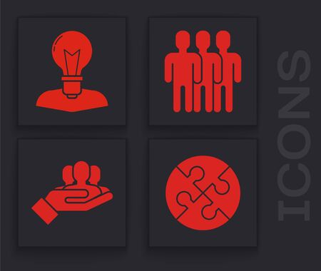 Set Piece of puzzle, Human head with lamp bulb, Users group and Project team base icon. Vector 일러스트