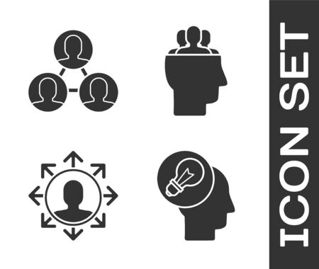 Set Human head with lamp bulb, Project team base, Project team base and Project team base icon. Vector 일러스트