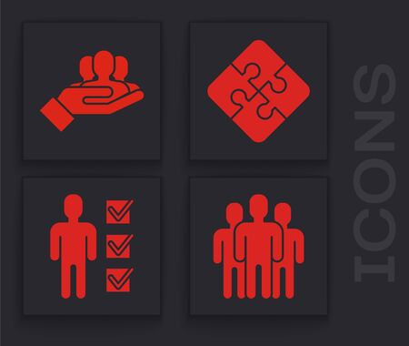 Set Users group, Project team base, Piece of puzzle and User of man in business suit icon. Vector