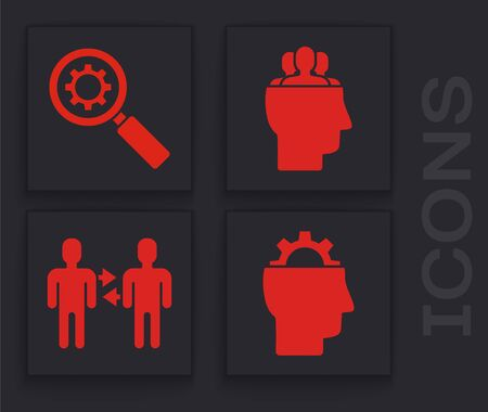 Set Human with gear inside, Magnifying glass and gear, Project team base and Project team base icon. Vector
