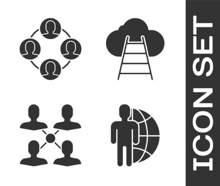 Set Globe and people, Project team base, Project team base and Ladder leading to cloud icon. Vector