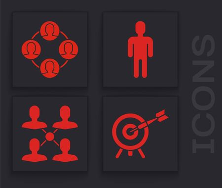 Set Target with arrow, Project team base, User of man in business suit and Project team base icon. Vector