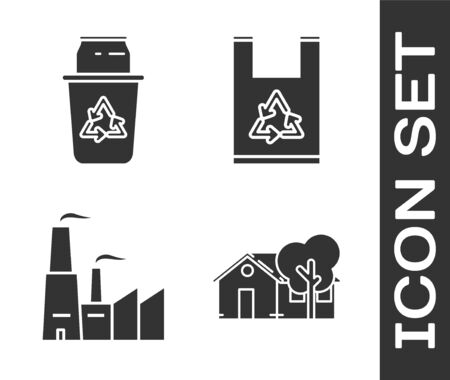 Set Eco friendly house, Recycle bin with recycle symbol and can, Factory and Plastic bag with recycle icon. Vector Archivio Fotografico - 139122525