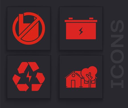 Set Eco friendly house, Say no to plastic bags poster, Car battery and Battery with recycle symbol icon. Vector