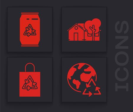 Set Planet earth and a recycling, Can with recycle symbol and can, Eco friendly house and Plastic bag with recycle icon. Vector Vektoros illusztráció
