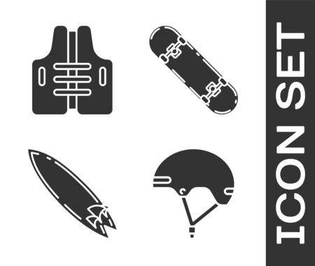 Set Helmet, Life jacket, Surfboard and Skateboard trick icon. Vector Illustration