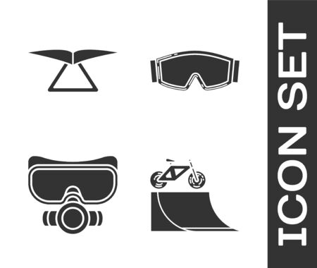 Set Bicycle on street ramp, Hang glider, Diving mask and Ski goggles icon. Vector