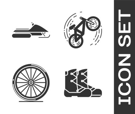 Set Boots, Snowmobile, Bicycle wheel and Bicycle trick icon. Vector