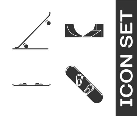 Set Snowboard, Skateboard, Snowboard and Skate park icon. Vector