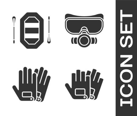 Set Gloves, Rafting boat, Gloves and Diving mask icon. Vector