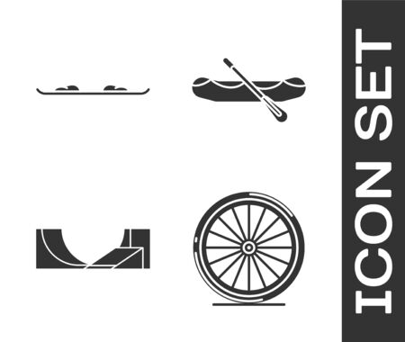Set Bicycle wheel, Snowboard, Skate park and Rafting boat icon. Vector