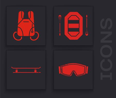 Set Ski goggles, Parachute, Rafting boat and Skateboard icon. Vector