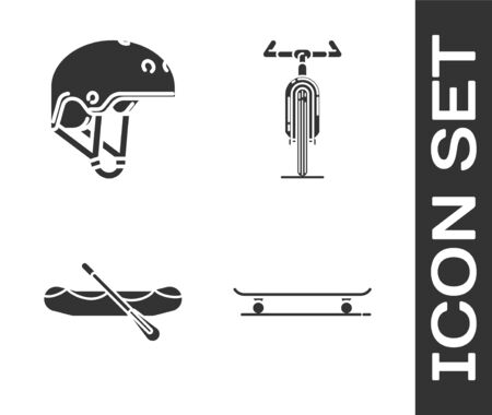 Set Skateboard, Helmet, Rafting boat and Bicycle icon. Vector