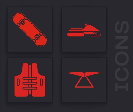 Set Hang glider, Skateboard trick, Snowmobile and Life jacket icon. Vector