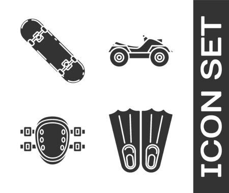 Set Rubber flippers for swimming, Skateboard trick, Knee pads and All Terrain Vehicle or ATV motorcycle icon. Vector