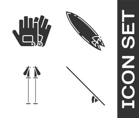 Set Surfboard, Gloves, Ski poles and Surfboard icon. Vector
